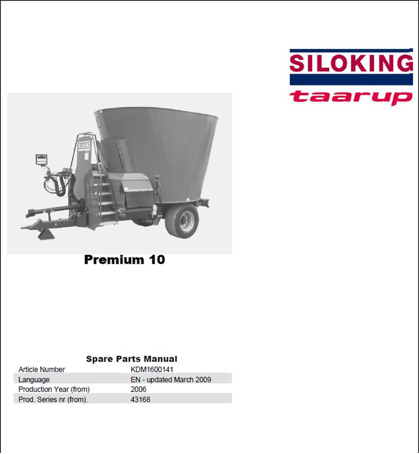 Taarup Premium 10 spare parts manual