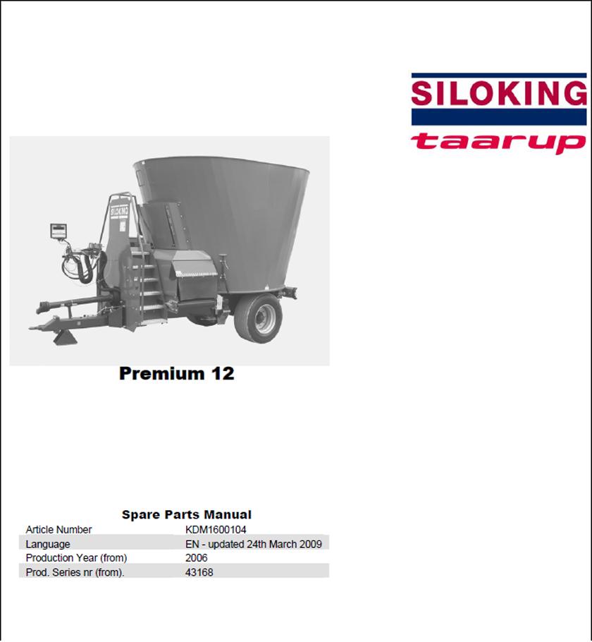 Taarup Premium 12 spare parts manual
