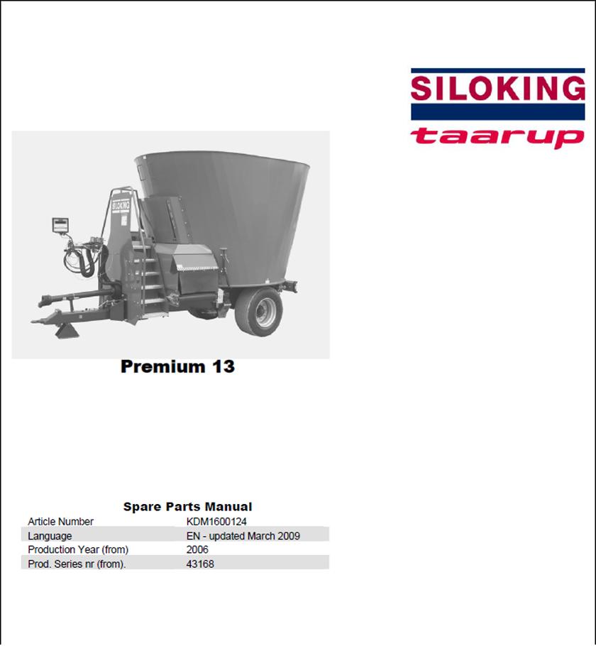 Taarup Premium 13 spare parts manual