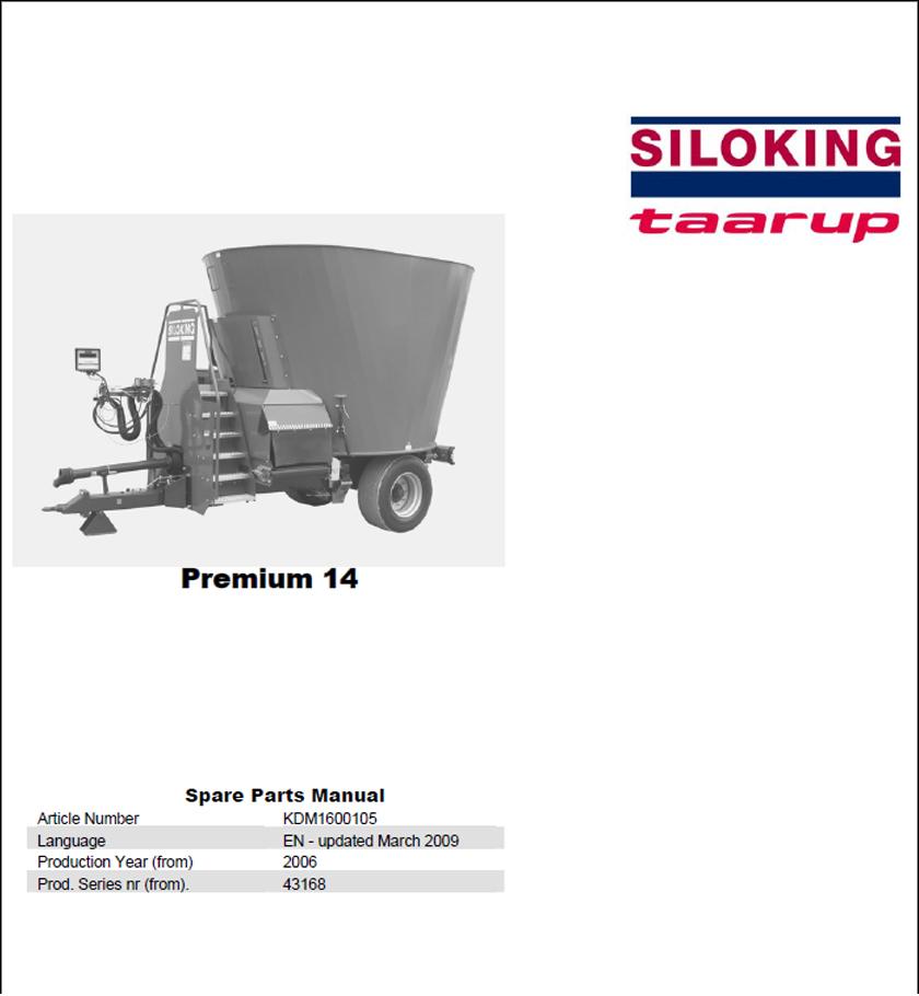 Taarup Premium 14 spare parts manual
