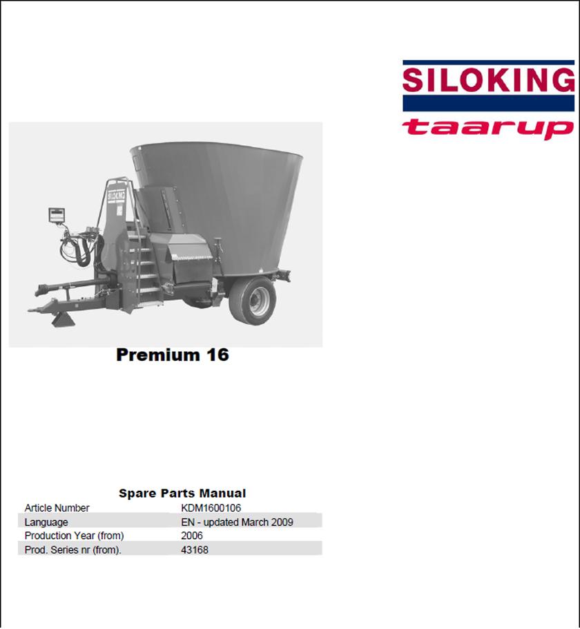 Taarup Premium 16 spare parts manual