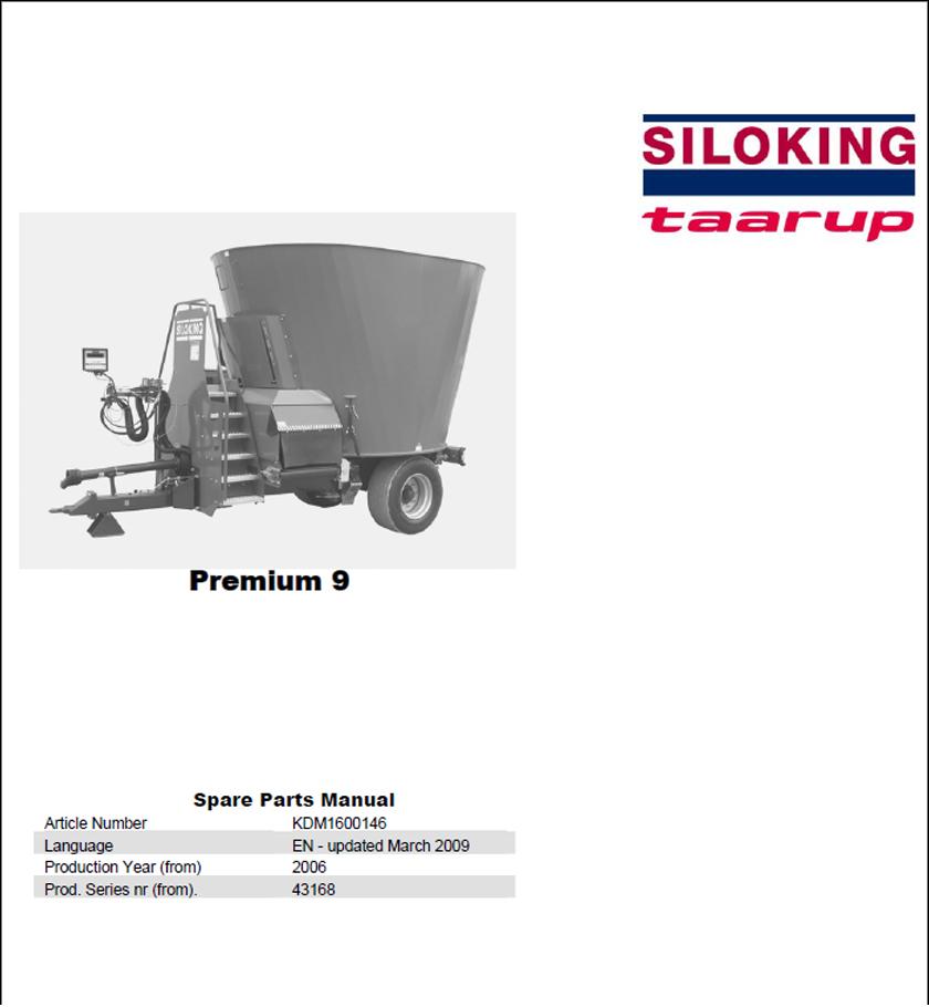 Taarup Premium 9 spare parts manual