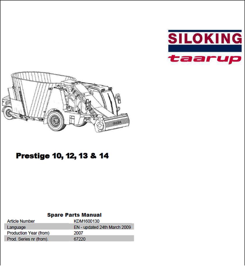 Taarup Prestige 10 12 13 14 spare parts manual