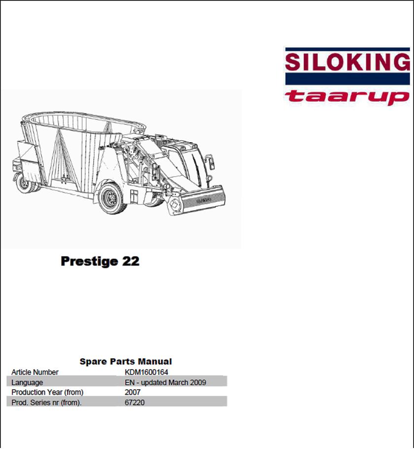 Taarup Prestige 22 spare parts manual