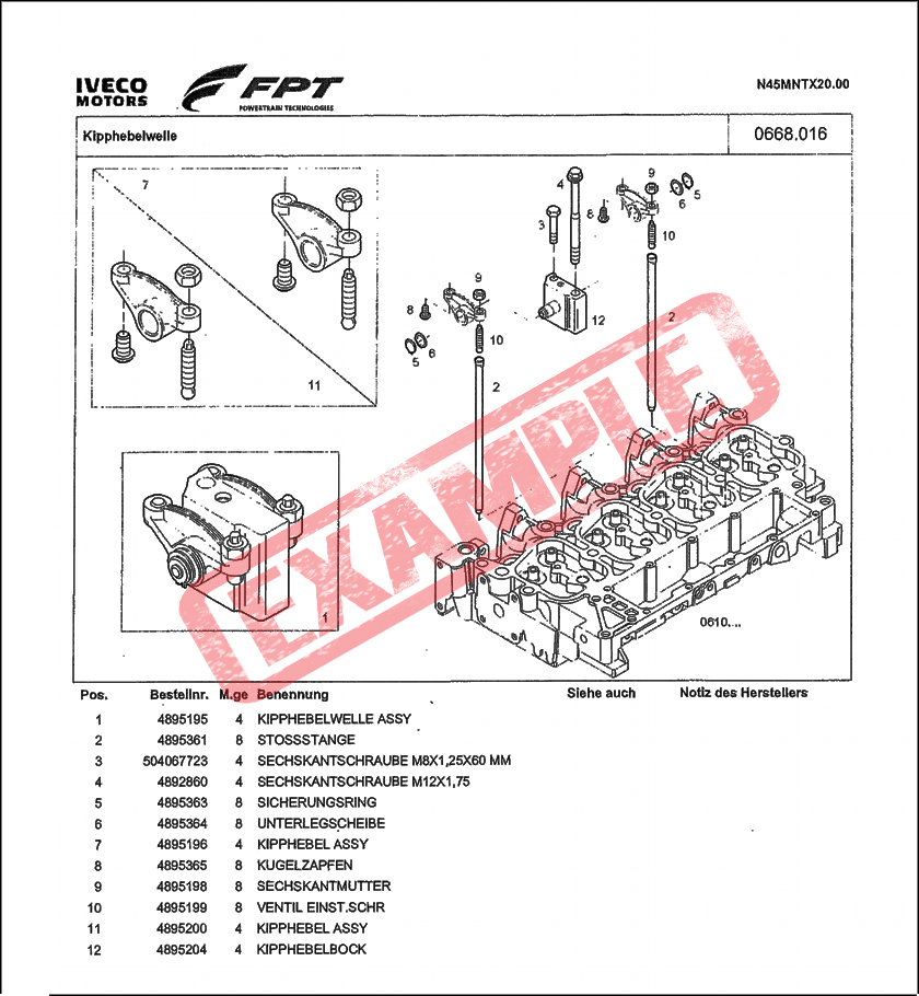 Taarup Iveco N67 spare parts manual