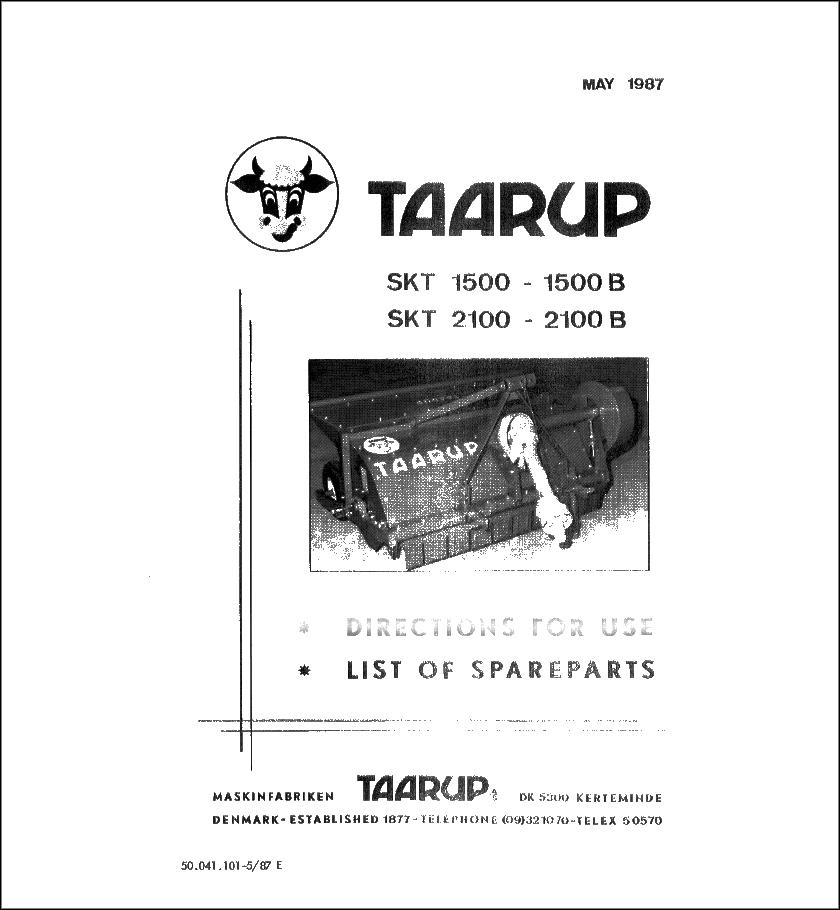 Taarup SKT1500 SKT2100 spare parts manual