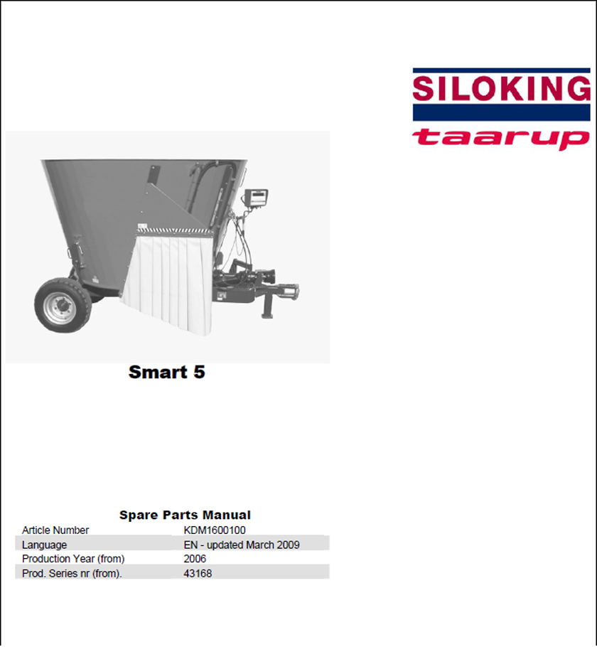 Taarup Smart 5 spare parts manual