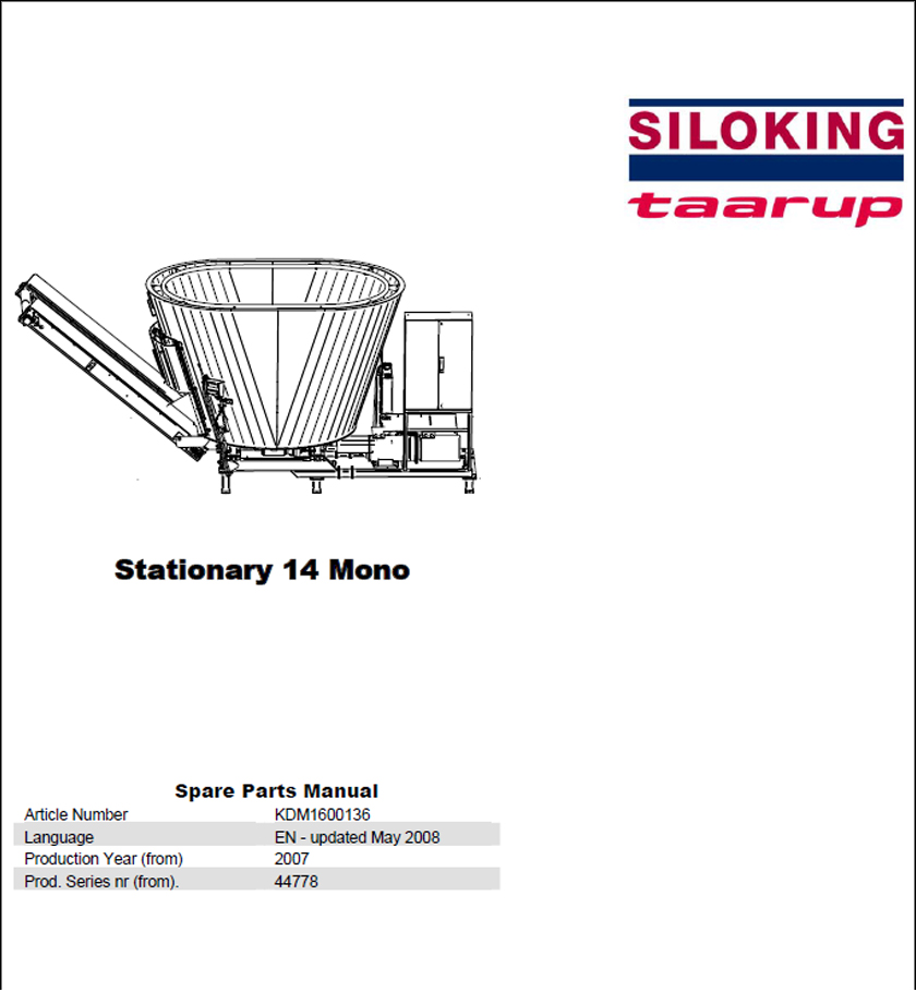 Taarup Stationary 14 spare parts manual