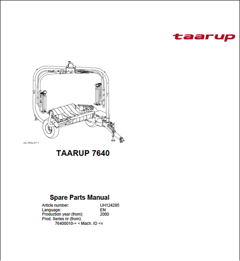 Taarup TA 7640 spare parts manual
