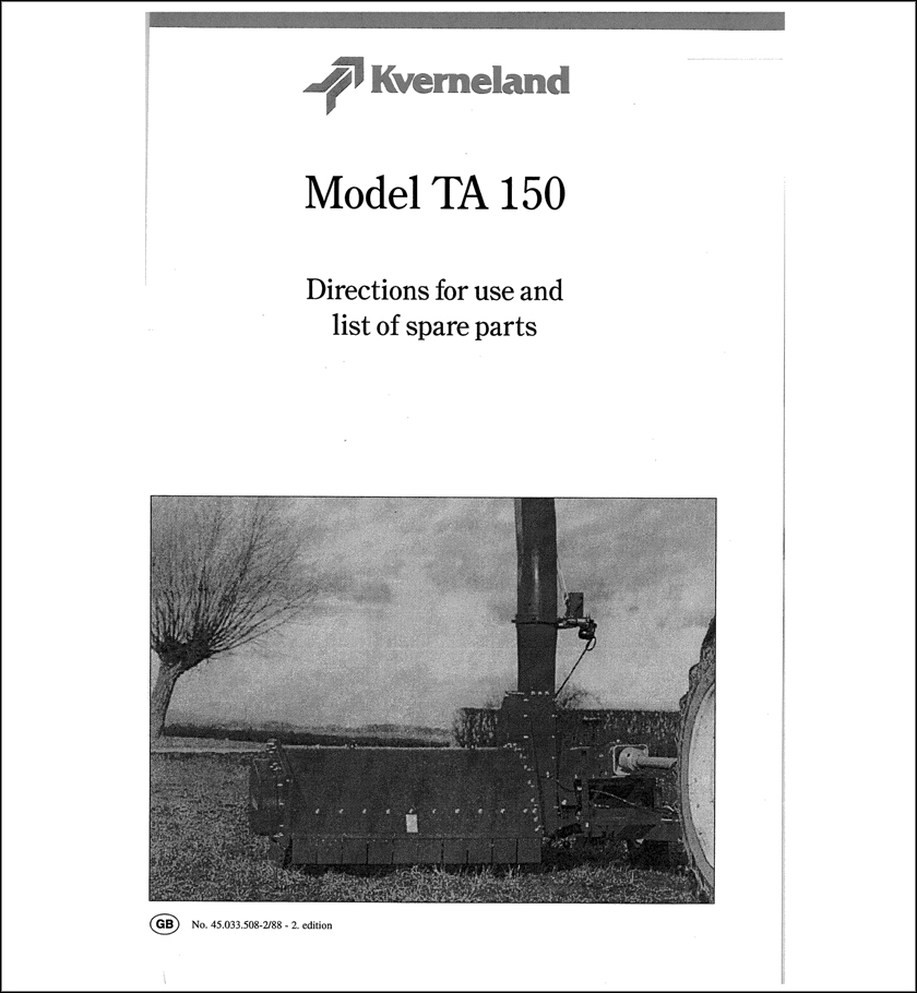 Taarup TA150 spare parts manual