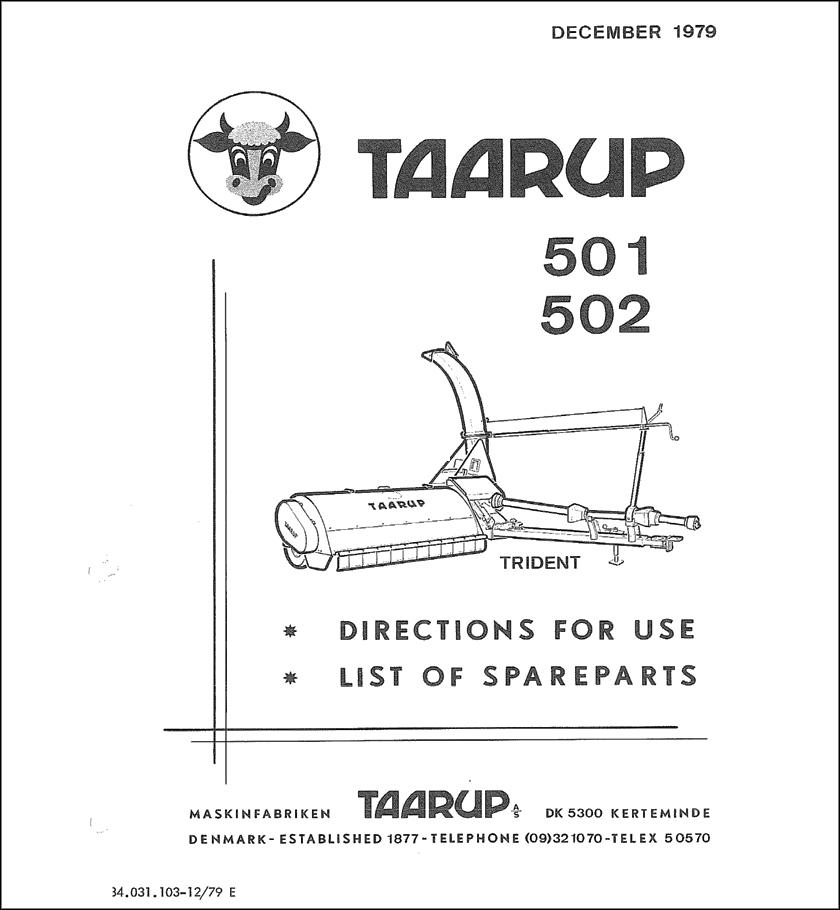 Taarup TA501 TA502 spare parts manual