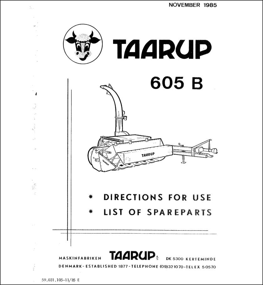 Taarup TA605B spare parts manual