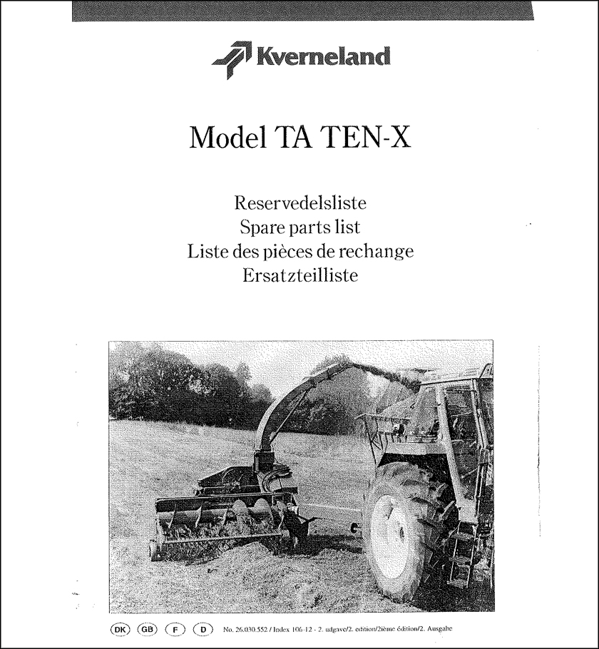 Taarup Ten-X spare parts manual
