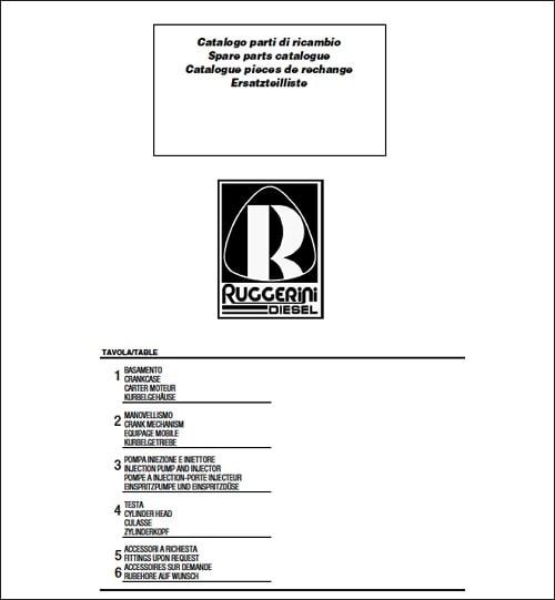 Ruggerini Parts Manual Catalog Collection Download