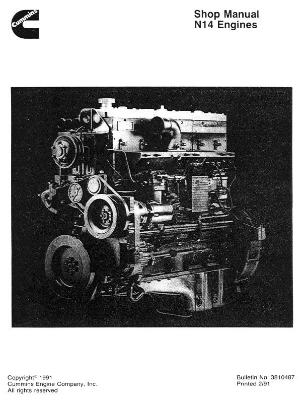 Cummins N14 Engines Shop Manual for Repair and Maintenance