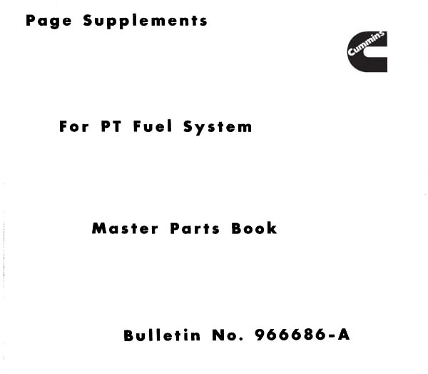 Cummins Page Supplements for PT Fuel System Master Parts Book-min