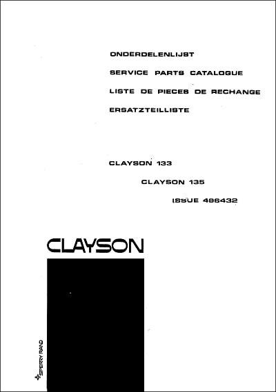 New Holland Clayson 133 Parts Manual