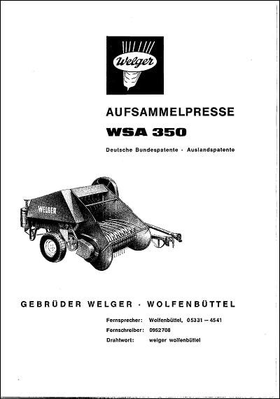 Welger 350 WSA Parts Manual