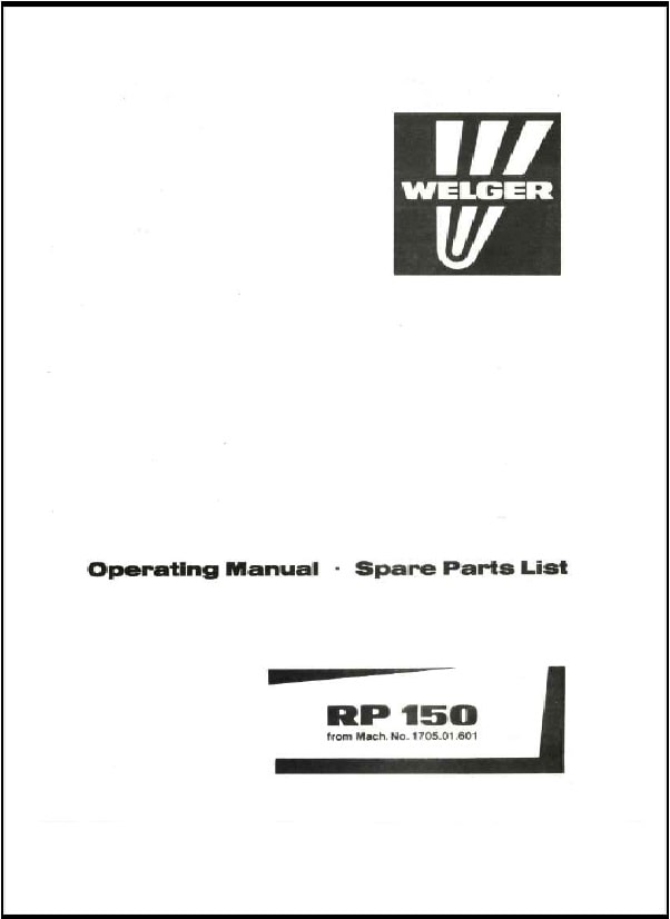 Welger RP150 Parts Manual